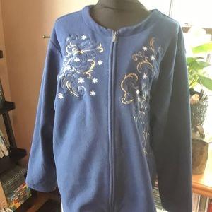 4/$15 Size XXL blue zip Up fleece sweater